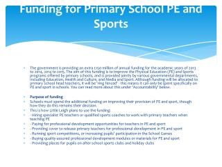 Funding for Primary School PE and Sports