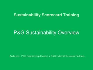 Sustainability Scorecard Training