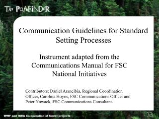 Communication Guidelines for Standard Setting Processes