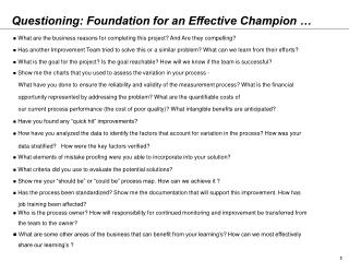 Questioning: Foundation for an Effective Champion …