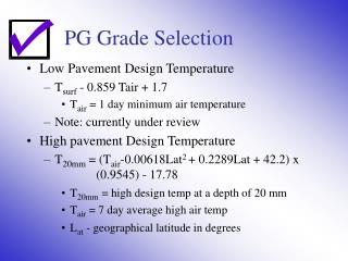 PG Grade Selection