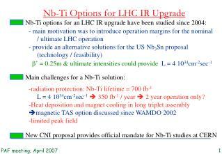Nb-Ti Options for LHC IR Upgrade