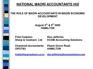 The Role of Maori Accountants in Maori Economic Development by Fred Cookson