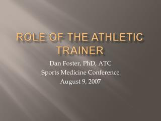 Role of the Athletic Trainer