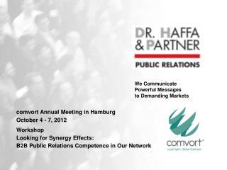comvort Annual Meeting in Hamburg  October 4 - 7, 2012
