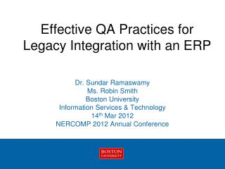 Effective QA Practices for Legacy Integration with an ERP