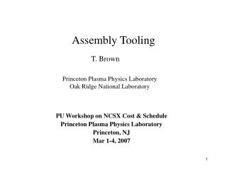 Assembly Tooling