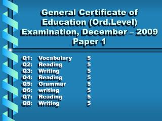 General Certificate of Education (Ord.Level) Examination, December  –  2009 Paper 1