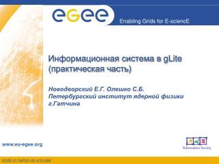Информационная система в  gLite ( практическая часть )