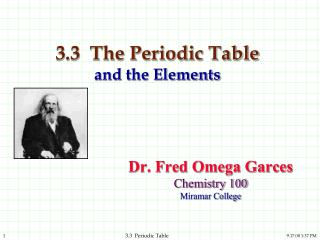 3.3  The Periodic Table  and the Elements