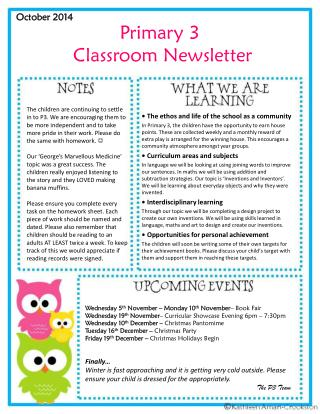 Primary 3  Classroom Newsletter