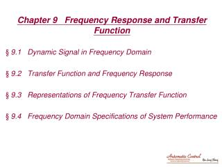 Chapter 9   Frequency Response and Transfer Function