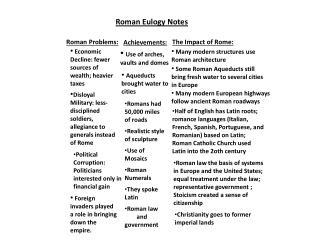 Roman Eulogy Notes