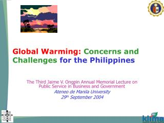 Global Warming:  Concerns and Challenges  for the Philippines