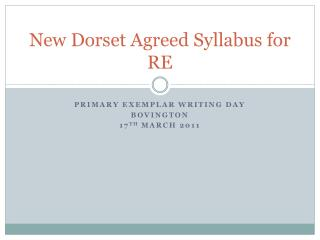 New Dorset Agreed Syllabus for RE