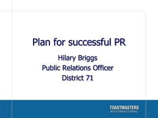 Plan for successful PR