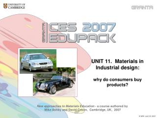 UNIT 11.  Materials in Industrial design: why do consumers buy products?