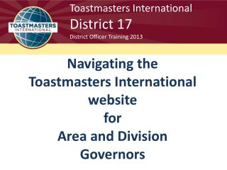 Toastmasters International District 17 District Officer Training 2013