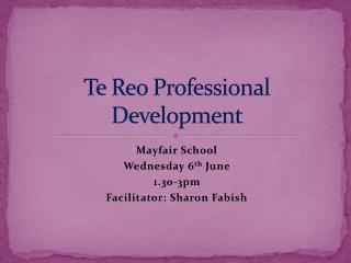 Te Reo Professional Development