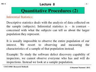 Inferential Statistics: