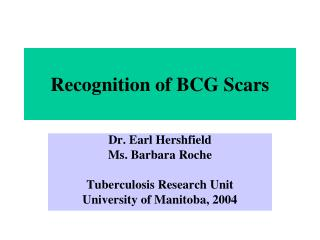Recognition of BCG Scars