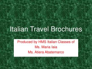 Italian Travel Brochures
