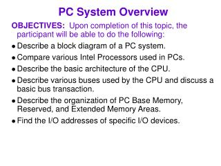 PC System Overview