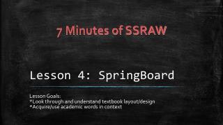 Lesson 4:  SpringBoard