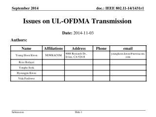 Issues on UL-OFDMA Transmission