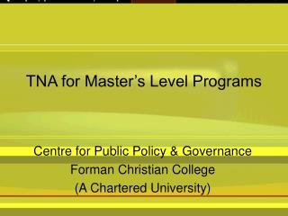 TNA for Master�s Level Programs