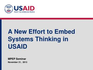 A New Effort to Embed Systems Thinking in USAID