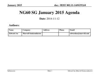 NG60 SG January 2015 Agenda
