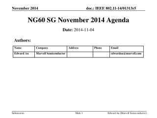 NG60 SG November 2014 Agenda