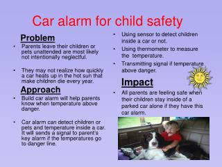 Car alarm for child safety