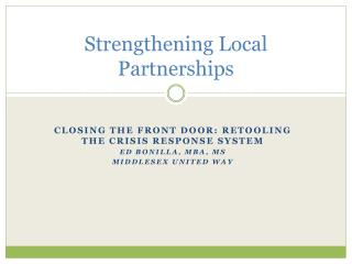 Strengthening Local Partnerships