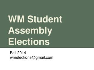 WM Student Assembly Elections