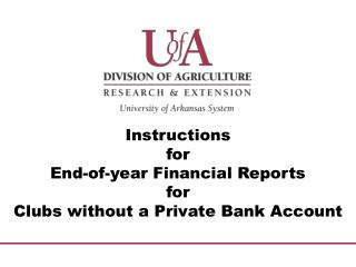 Instructions  for  End-of-year Financial Reports for Clubs without a Private Bank Account