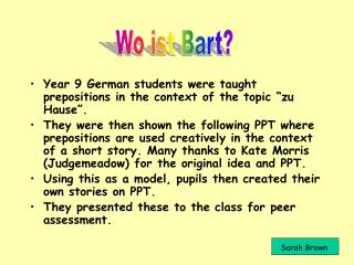 """Year 9 German students were taught prepositions in the context of the topic """"zu Hause""""."""