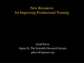 New Resources for Improving Postdoctoral Training