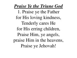 Praise Ye the Triune God