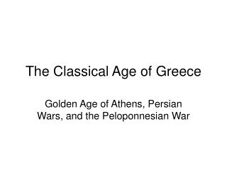 The Classical Age of Greece