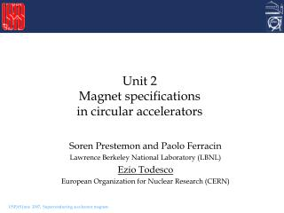 Unit 2 Magnet specifications  in circular accelerators