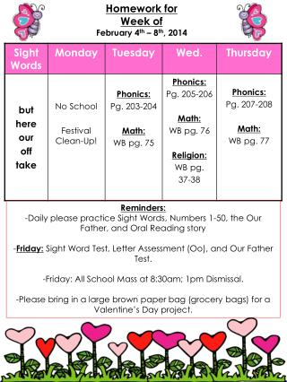 Homework for  Week of February 4 th  � 8 th , 2014