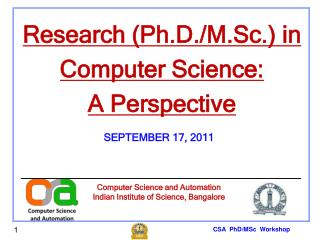 CSA  PhD/MSc  Workshop