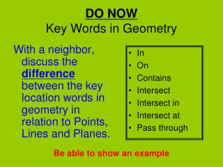 DO NOW Key Words in Geometry