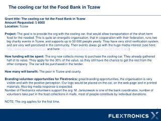The  cooling car  fot the  Food Bank  in  Tczew