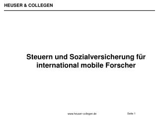 Steuern und Sozialversicherung f r international mobile Forscher
