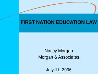 FIRST NATION EDUCATION LAW