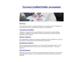 Towson Certified Public Accountant