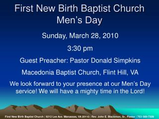 First New Birth Baptist Church Men�s Day